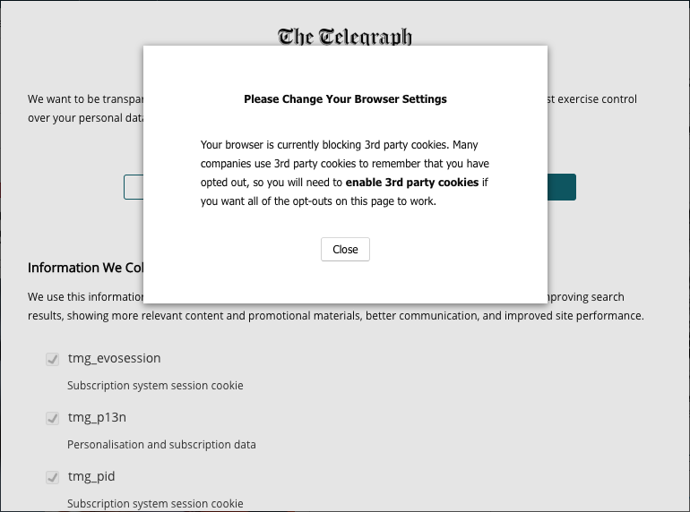 Cookie opt out on telegraph.co.uk