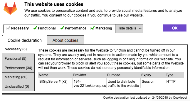 Cookiebot dialog detailed view
