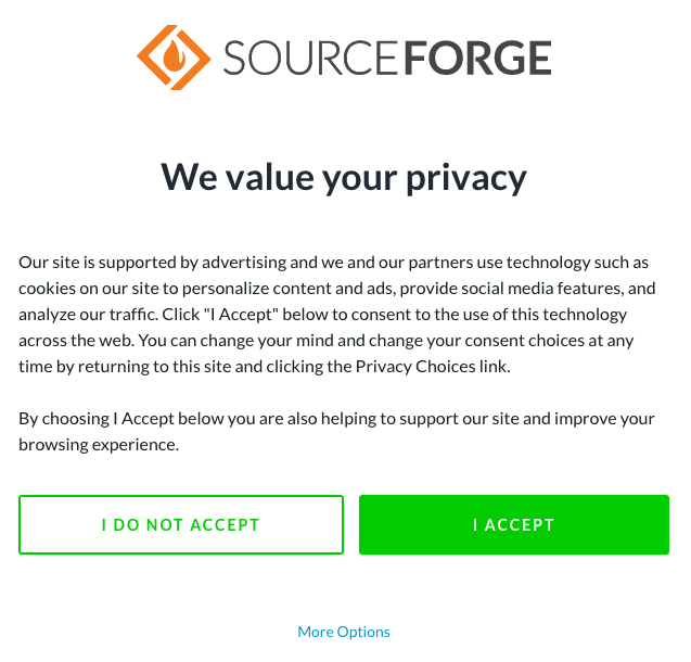 Sourceforge Consent popup