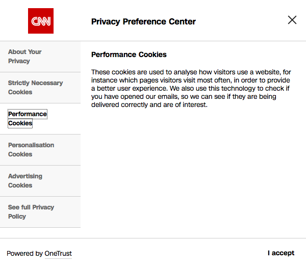 OneTrust Privacy Preference Center on cnn.com